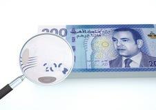 3D framförda Jordanienpengar med förstoringsapparaten utforskar valuta som isoleras på vit bakgrund Royaltyfria Bilder