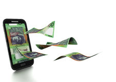 3D framförda pengar för australisk dollar som vippas på och isoleras på vit bakgrund Arkivbild