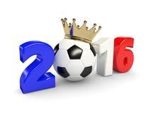 3d framförde 2016 år med den fotbollbollen och kronan som isolerades över w Royaltyfria Bilder