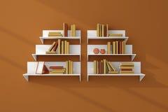 3d framförde bokhyllor Arkivbild