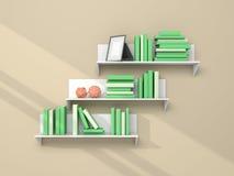 3d framförde den moderna bokhyllan Royaltyfria Foton