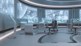 3D framförde den tomma, moderna futuristiska inre för kommandomitten Arkivfoto