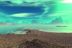 3d framförde fantasifrämlingplaneten Rocks och lake stock illustrationer