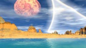 3d framförde fantasifrämlingplaneten vaggar skyen stock illustrationer