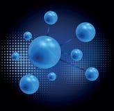 3D framförde glansiga molekylar på grå bakgrund för kemikalie eller royaltyfri illustrationer