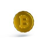 3D framförde guld- bitcoin isolerad på vit bakgrund med skuggor Royaltyfria Bilder