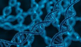 3D framförde illustrationen av den glödande molekylen för DNA:t Royaltyfria Bilder