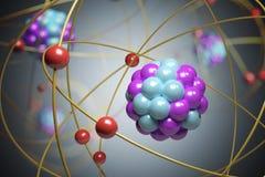 3D framförde illustrationen av elementarpartiklar i atom Fysikbegrepp Arkivfoto