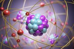 3D framförde illustrationen av elementarpartiklar i atom Fysikbegrepp Royaltyfri Fotografi