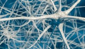 3D framförde illustrationen av neurons i hjärna stock illustrationer