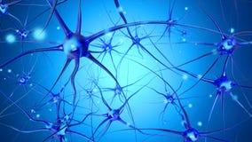 3D framförde illustrationen av signalöverföringen i ett Neuronal royaltyfria bilder