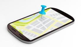 Smartphone navigering Arkivbild