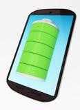 Smartphone med det fulla batteriet Arkivfoto