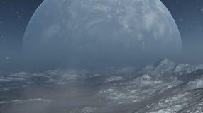 3d framförde utrymmekonst: Främmande planet - ett fantasivinterlandskap royaltyfri illustrationer