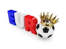 3d framfört euroord med den fotbollbollen och kronan över w Arkivbild