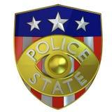 3d framfört polisstatemblem Stock Illustrationer