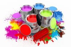 3d framför av den färgrika målarfärghinken Fotografering för Bildbyråer