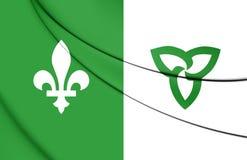 3D Franco-Ontarian Flag. Ontario, Canada. Royalty Free Stock Photography