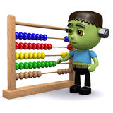 3d Frankenstein with abacus. 3d render of Frankenstein with an abacus Royalty Free Stock Images