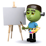 3d Frankenstein the artist. 3d render of Frankenstein painting a picture Stock Photo