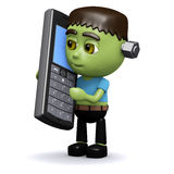 3d Frankenstein chats on the phone Royalty Free Stock Photo