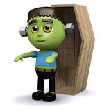 3d Frankenstein coffin Stock Image