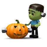 3d Frankenstein Halloween pumpkin Stock Images