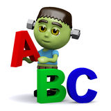 3d Frankenstein learns his alphabet Royalty Free Stock Photo