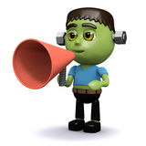 3d Frankenstein with a megaphone Royalty Free Stock Photo
