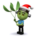 3d Frankenstein with mistletoe Royalty Free Stock Images