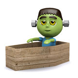 3d Frankenstein monster in coffin Stock Photography