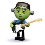 3d Frankenstein plays electric guitar Royalty Free Stock Images