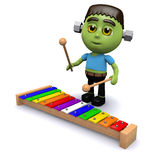 3d Frankenstein plays xylophone Stock Photography