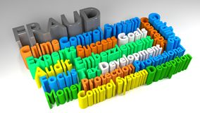 3D FRAUD word cloud Royalty Free Stock Images