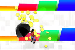 3d Frauen Regenschirm und Goldmünze regnen Illustration Lizenzfreie Stockfotos