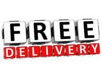 3D Free Delivery Button Click Here Block Text. Over white background Stock Photography