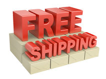 3D free shipping text and cardboard boxes on pallet Stock Photo