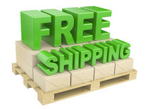 3D free shipping text and cardboard boxes on pallet Royalty Free Stock Image