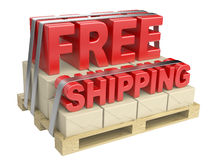 3D free shipping text and cardboard boxes on pallet Stock Image