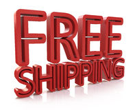 3D Free Shipping text on white background Stock Photos