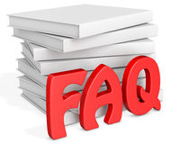 3d frequently asked questions with blank books Stock Photography