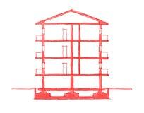 2d frihands skissar illustrationen av byggnad Arkivbild