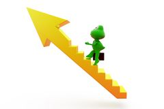 3d frog arrow stairs concept Royalty Free Stock Images
