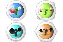 3d Frog barbell with one hand icon Royalty Free Stock Images