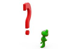 3d frog with big question mark concept Stock Photos