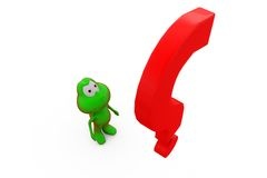 3d frog with big question mark concept Royalty Free Stock Photos