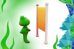 3d frog with billboard illustration Royalty Free Stock Photo