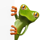 3d frog and blank empty board Royalty Free Stock Photo