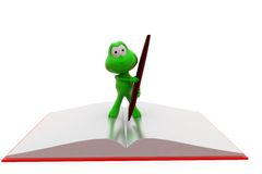 3d frog book and pen concept Royalty Free Stock Photography