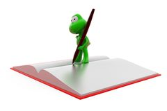 3d frog book and pen concept Stock Photos